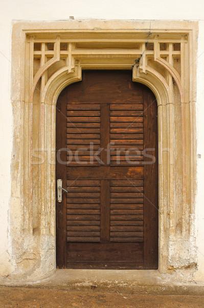 Gedetailleerd entree oude kerk steen textuur Stockfoto © taviphoto