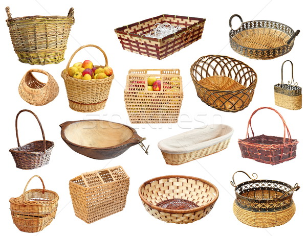 Stock photo: isolated collection of wicker baskets