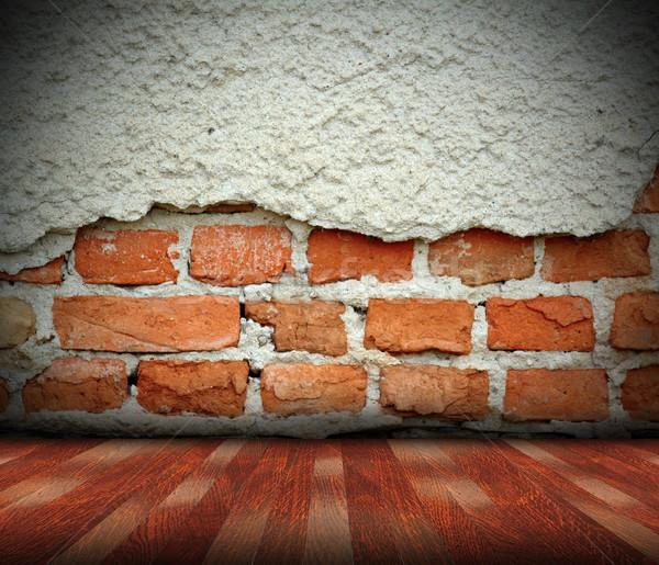 Binnenshuis abstract gebarsten muur Stockfoto © taviphoto