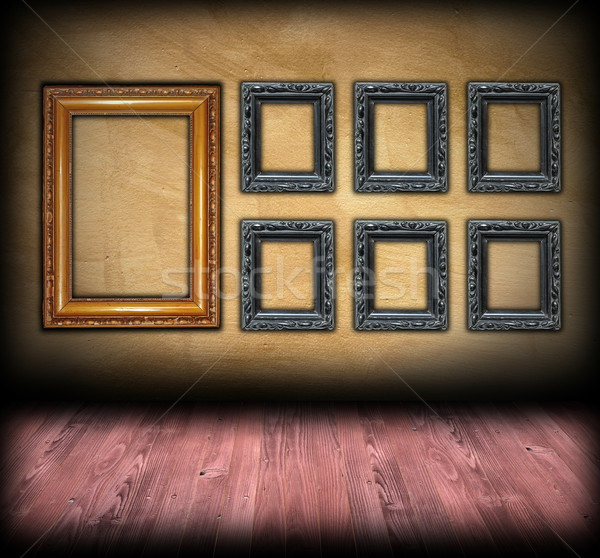 art backdrop wooden  frames on wall Stock photo © taviphoto