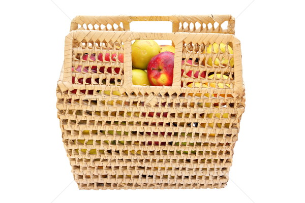 Fonott kosár tele színes almák piros Stock fotó © taviphoto