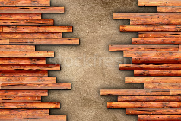 wooden planks floor finishing on beige cement Stock photo © taviphoto