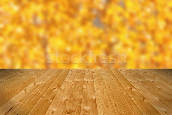 wooden floor and defocused autumn forest Stock photo © taviphoto