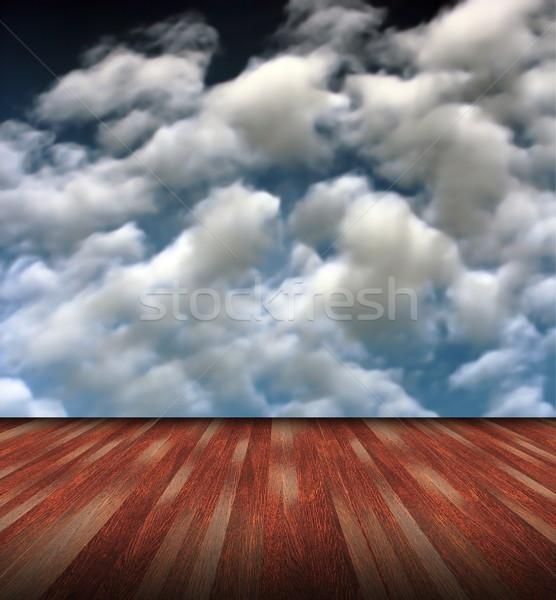 Mahagóni természetes absztrakt háttér gyönyörű kék ég Stock fotó © taviphoto