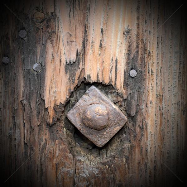 Starych metaliczny paznokci drewna Zdjęcia stock © taviphoto