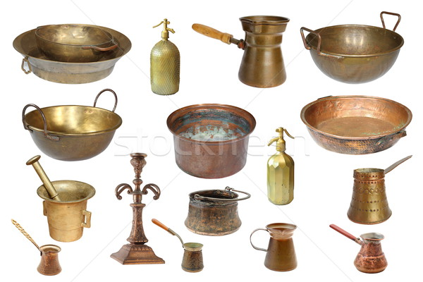 collection of isolated vintage copper objects Stock photo © taviphoto