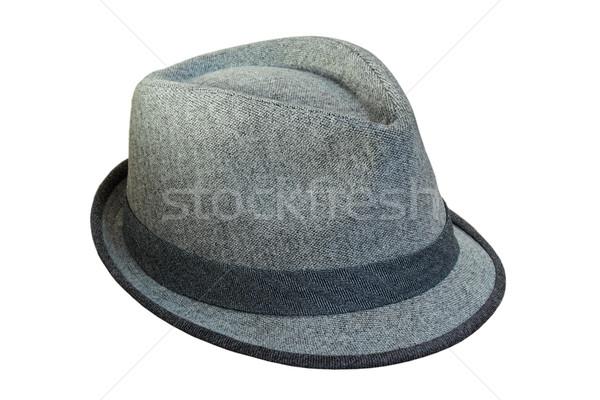 Geïsoleerd grijs hoed lint witte mode Stockfoto © taviphoto
