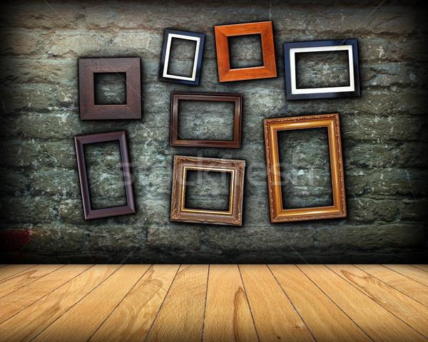 Parede completo madeira quadros projeto mensagem Foto stock © taviphoto