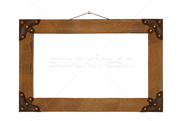 ancient painting frame finished with leather Stock photo © taviphoto