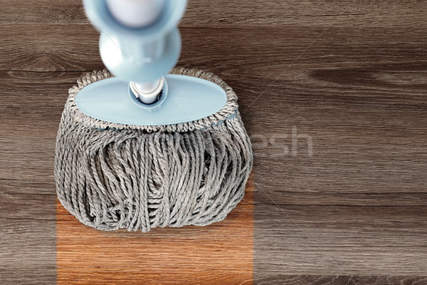 washing wood floor with mop Stock photo © taviphoto
