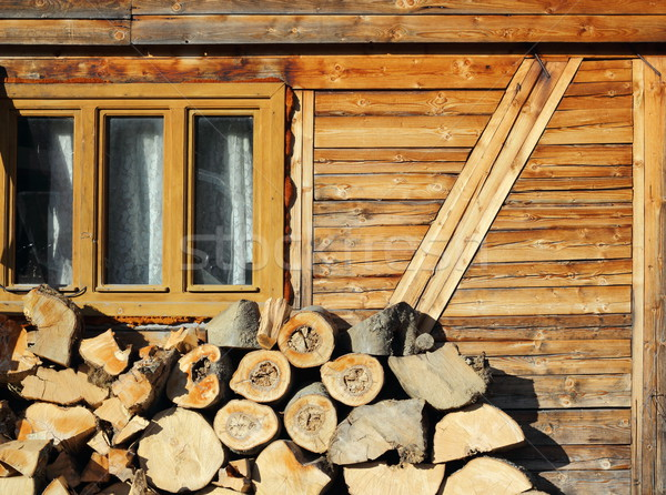 Stock photo: firewood near a lodge