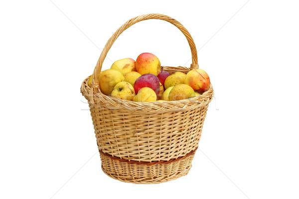 Kosár tele bio almák kézzel készített izolált Stock fotó © taviphoto