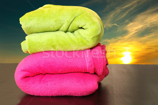colorful towels prepared for sunset bath in the sea Stock photo © taviphoto