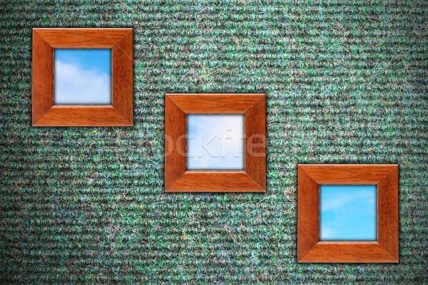 Stock fotó: Koszos · fal · három · fából · készült · keret · szőnyeg