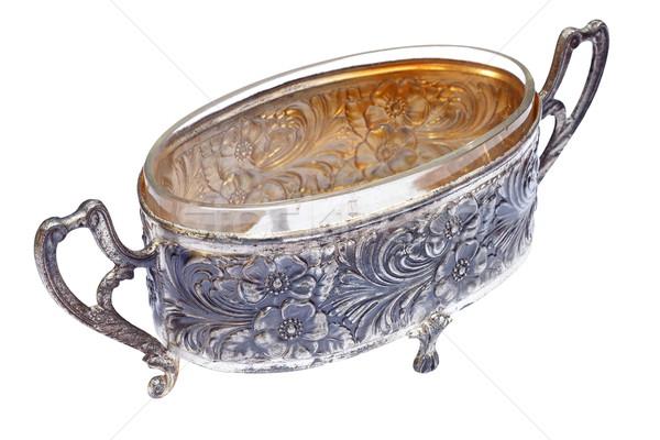 ancient metallic pot over white Stock photo © taviphoto