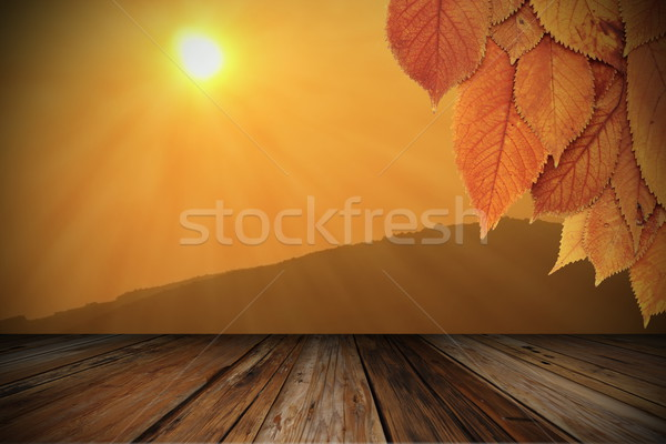 beautiful sunrise viewed from wood veranda Stock photo © taviphoto