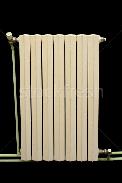 Oude gietijzer radiator geïsoleerd zwarte water Stockfoto © taviphoto