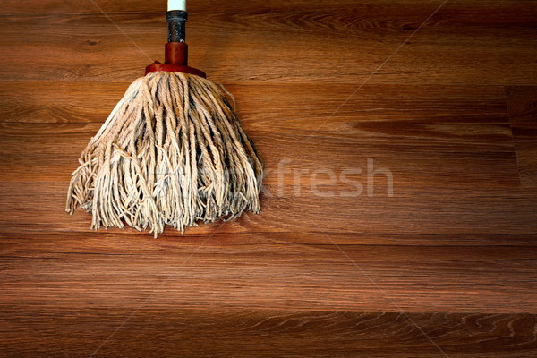 cleaning brown parquet with mop Stock photo © taviphoto