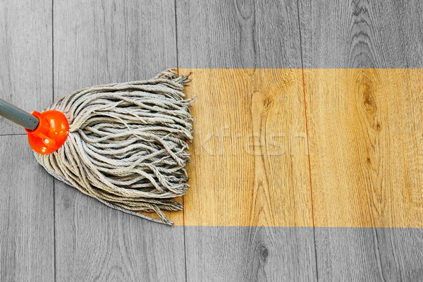 washing dust on wooden floor with mop Stock photo © taviphoto