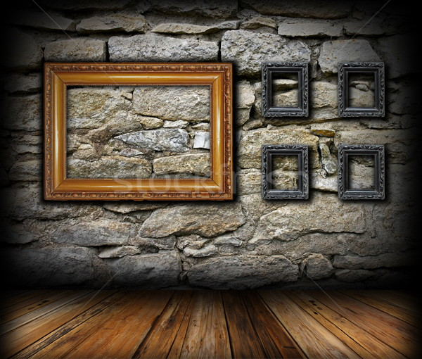 vintage interior backdrop with frames Stock photo © taviphoto