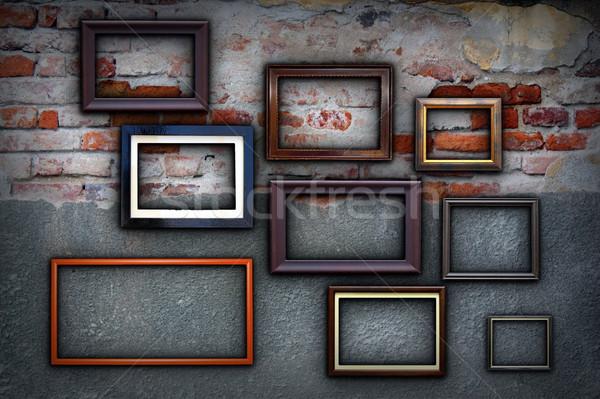 Keret repedt ősi fal különböző festmény Stock fotó © taviphoto