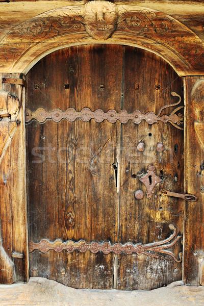 Belo velho porta antigo madeira Foto stock © taviphoto