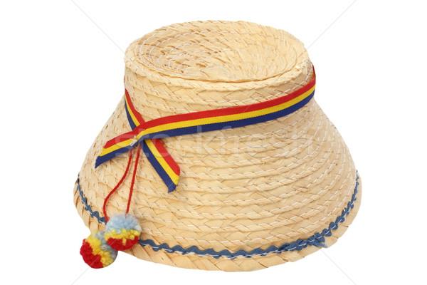 румынский традиционный изолированный Hat соломенной шляпе белый Сток-фото © taviphoto