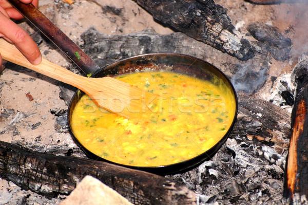 приготовления лагерь огня желтый грибы Сток-фото © taviphoto