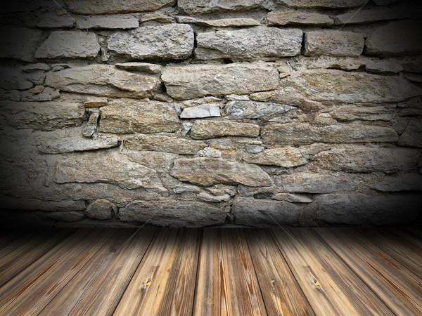 üres szoba belső fapadló koszos kőfal textúra Stock fotó © taviphoto