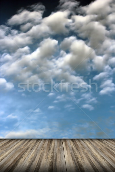 old wood floor and cloudy sky Stock photo © taviphoto