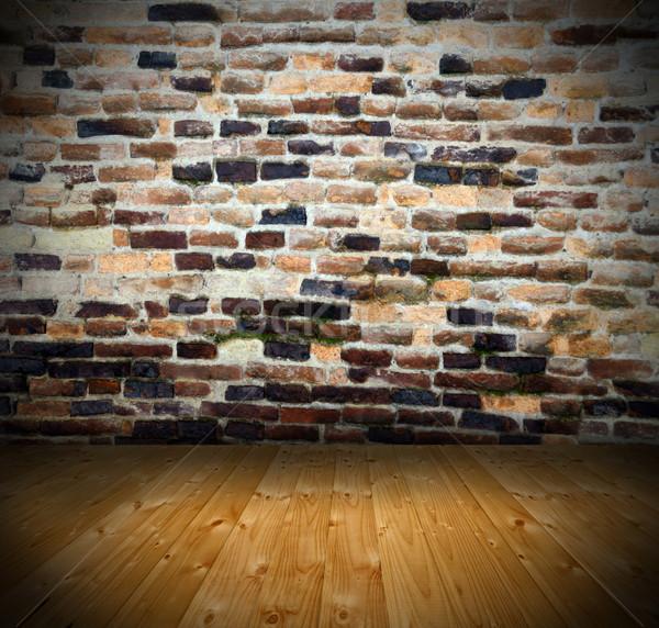 ancient interior backdrop with cracked wall Stock photo © taviphoto