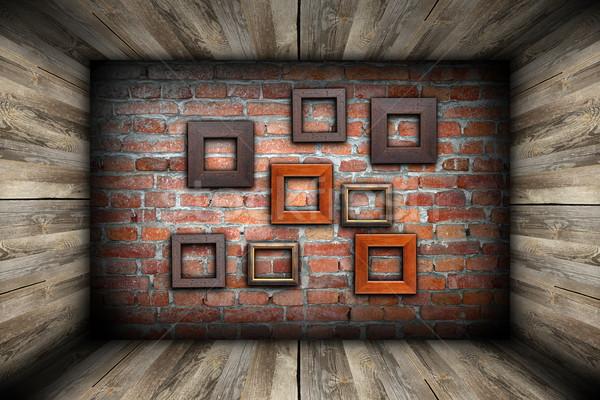üres szoba keret fal absztrakt téglafal ház Stock fotó © taviphoto