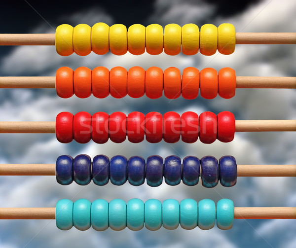 colorful wood abacus over sky Stock photo © taviphoto