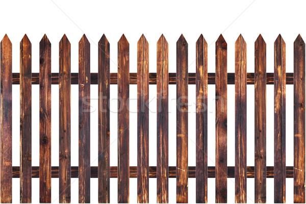 Ostry drewna ogrodzenia starych odizolowany Zdjęcia stock © taviphoto