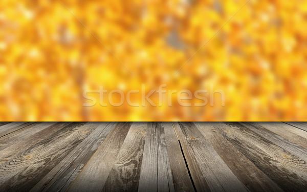 Gyönyörű kilátás fából készült erkély öreg ősz Stock fotó © taviphoto
