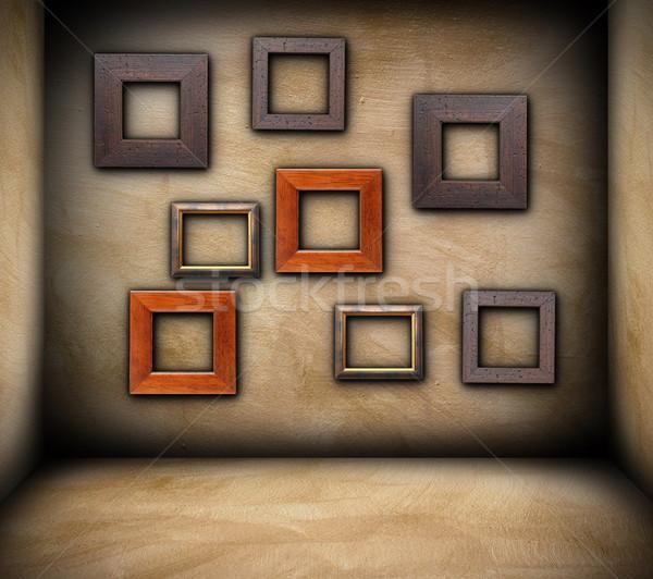 Keret üres szoba fából készült koszos fal háttér Stock fotó © taviphoto