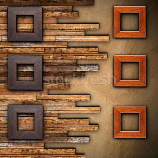 Frames houten afgewerkt muur bericht reclame Stockfoto © taviphoto