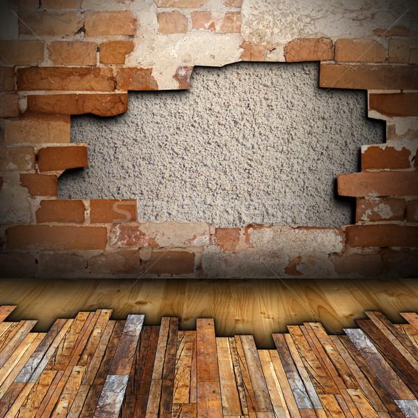 Mahagóni padló installál repedt belső háttér Stock fotó © taviphoto