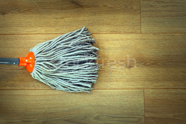 closeup of mop head cleaning on wooden parquet Stock photo © taviphoto