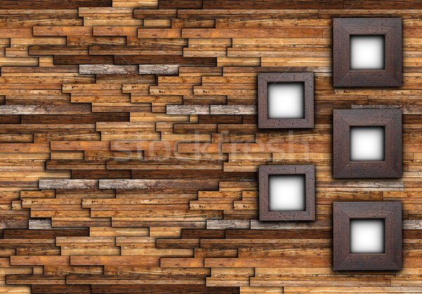 Abstract afgewerkt muur frames lege houten Stockfoto © taviphoto