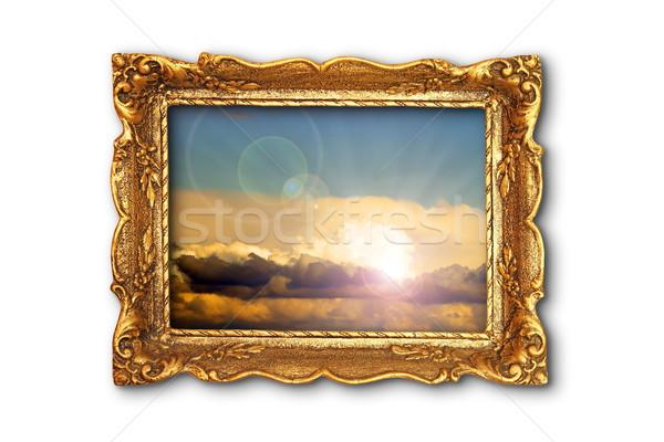 Renkli gökyüzü görüntü eski yaldızlı boyama Stok fotoğraf © taviphoto