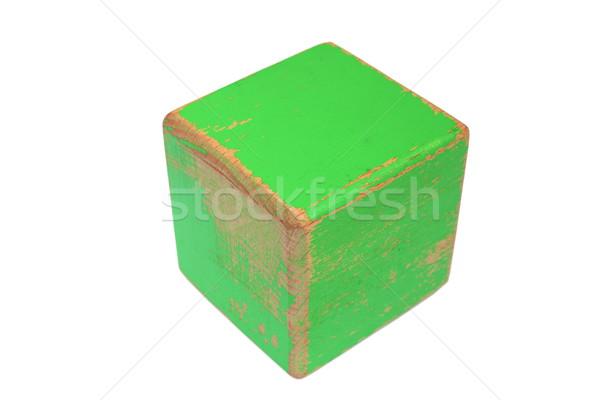 Velho brinquedo de madeira branco resistiu verde pintado Foto stock © taviphoto