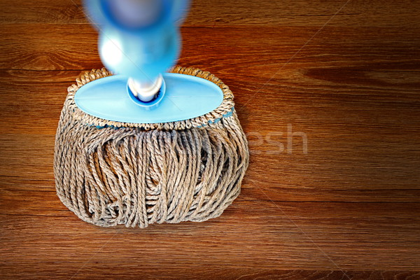 wooden parquet cleaned with a mop Stock photo © taviphoto