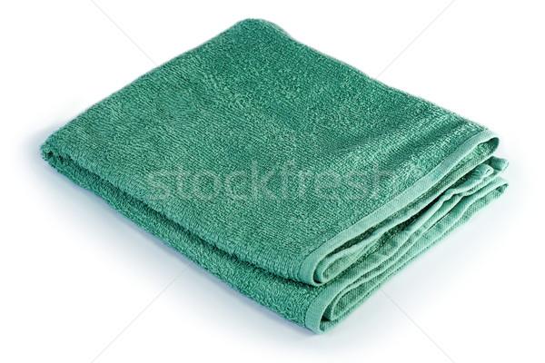 Verde asciugamano bianco piegato isolato tessuto Foto d'archivio © taviphoto