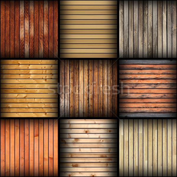 Kollázs különböző fából készült csempék padló befejezés Stock fotó © taviphoto
