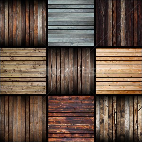 Gyűjtemény érdekes absztrakt fa deszkák sötét Stock fotó © taviphoto