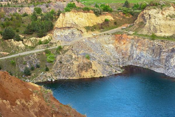 Mavi göl eski terkedilmiş su manzara Stok fotoğraf © taviphoto