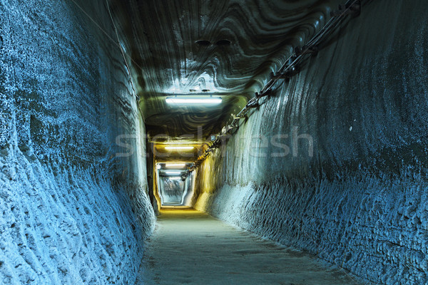 Verlicht tunnel mijn zout Blauw licht Stockfoto © taviphoto