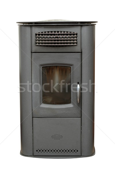 Casa vintage aquecedor isolado branco fogo Foto stock © taviphoto