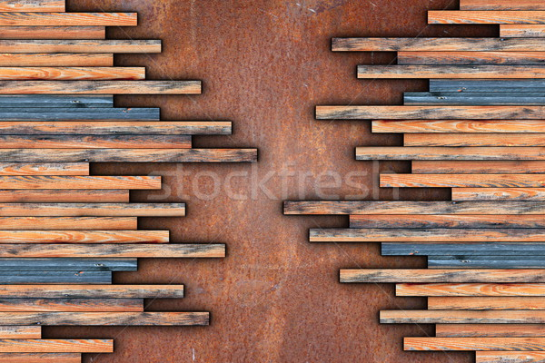 montage of wood planks on rusty surface Stock photo © taviphoto